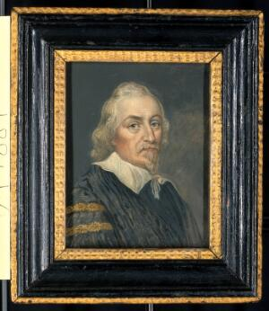 view William Harvey. Gouache (over engraved base?).