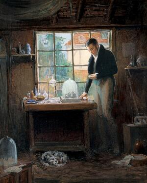 view Henry Hill Hickman performing experiments on suspended animation. Watercolour and gouache by Richard Tennant Cooper, ca. 1912.