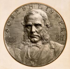 view Joseph Lister, 1st Baron Lister. Photograph of a bas relief by J.B. Wendt.