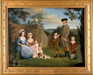 view John Coakley Lettsom (1733-1810), physician, with his family, in the garden of Grove Hill, Camberwell, ca. 1786. Oil painting by an English painter, ca. 1786.