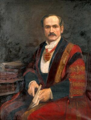 view Sir John Tweedy. Oil painting by A. E. Wragge.