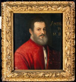 view A man once designated as Andreas Vesalius (1514-1564), anatomist. Oil painting by a follower of a Venetian painter, 16th century.