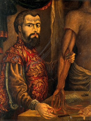 view Andreas Vesalius. Oil painting after a woodcut.