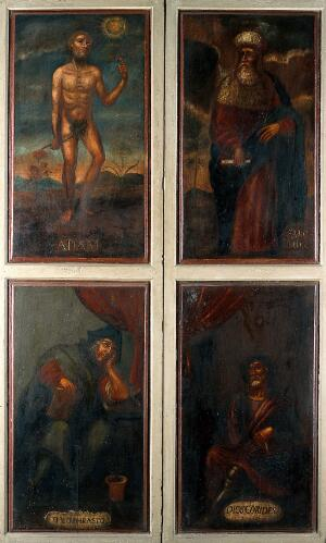 view Those who named the plants: Adam, Solomon, Theophrastus, and Dioscorides. Oil paintings.