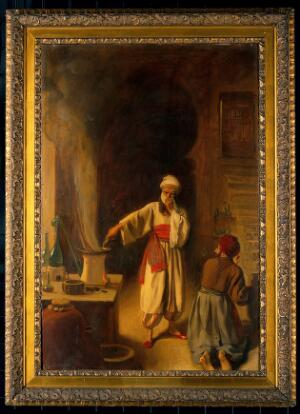view Rhazes, Arab physician and alchemist, in his laboratory at Baghdad.