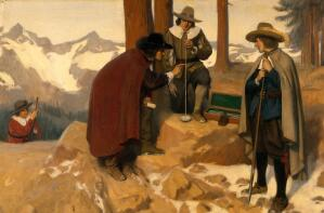view The discovery of the barometer: Torricelli experimenting in the Alps, 1643. Oil painting by Ernest Board.