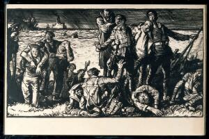 view World War I: shipwrecked sailors and soldiers reaching land. Lithograph by Frank Brangwyn.