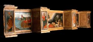 view Predella with three scenes of St Roch, and figures of St Peter, Christ as Salvator Mundi, St Laurence and St Paul. Oil painting by a French (?) painter.