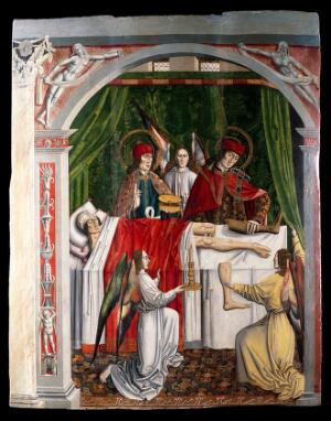 view A verger's dream: Saints Cosmas and Damian performing a miraculous cure by transplantation of a leg. Oil painting attributed to the Master of Los Balbases.