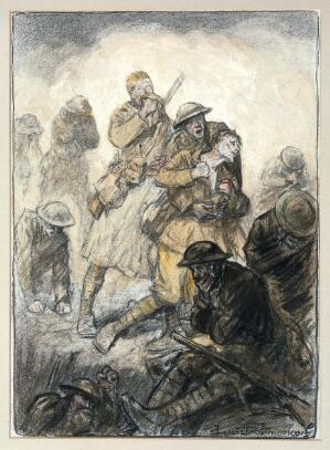 view World War I: a poisonous gas attack on the Canadians in Flanders, 24 April 1915. Coloured chalks by Louis Raemaekers. ca. 1918.