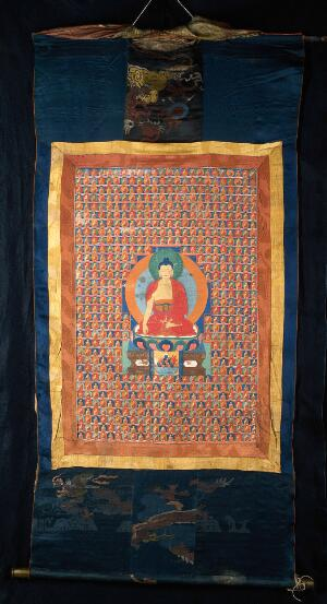 view The Buddha Aksobhya surrounded by six hundred and ten replicas of himself. Distemper painting by a Tibetan painter.