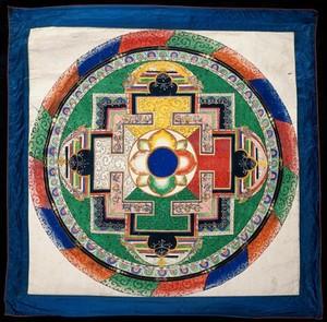 view Circle (Mandala). Watercolour by a Tibetan painter.