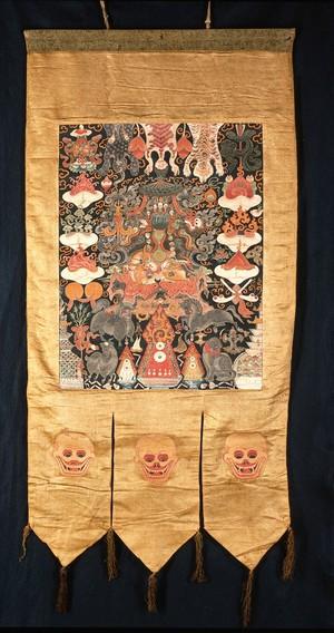 "view Attributes of dPal-Idan Lha-mo (Remati Sridevi) in a Tibetan ""rgyan tshogs"" banner."