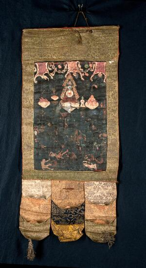 "view Attributes of Mahākāla in a ""rgyan tshogs"" banner. Distemper painting by a Tibetan painter."