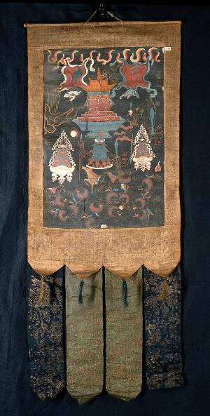 """view Attributes of the six-handed Mahākāla in a """"rgyan tshogs"""" banner. Distemper painting by a Tibetan painter."""