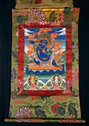 view The three Buddhist deities Vajrapāṇi, Mañjuśrī and Avalokiteśvara. Distemper painting by a Tibetan painter.
