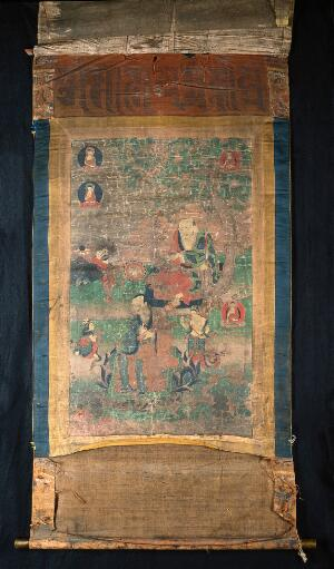 view Two elders: Nagasena (Tibetan kLu'i-sde) (above) and Panthaka (Tibetan Lam-bstan) (below).