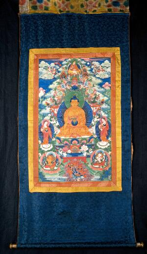 view The medicine Buddha and Tsongkhapa (1357-1419). Gouache pain