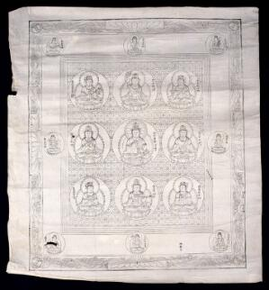 view The Buddha in lotus positions. Woodcut.