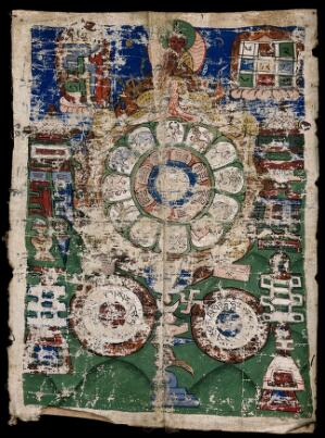 view Tibetan cosmological amulet for protection against diseases. Gouache painting, Tibet.