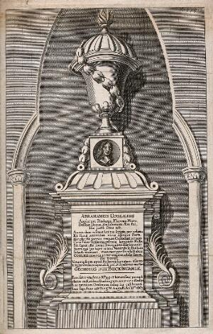 view Bust of Abraham Cowley in Poets' Corner, Westminster Abbey, London. Etching with engraving.