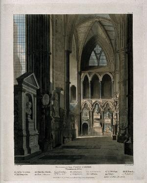 view Entrance to Poets' Corner Westminster Abbey showing the busts of John Dryden, Ben Johnson, Abraham Cowley and others. Coloured aquatint by J. Bluck after A. Pugin, 1811.