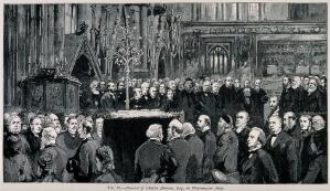 view The funeral ceremony of Charles Darwin at Westminster Abbey, 26 April 1882. Wood engraving.