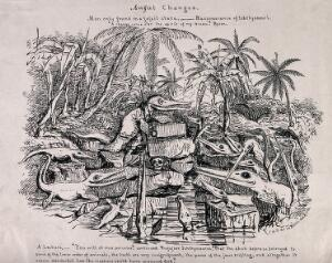view Ichthyosaurs attending a lecture on fossilised human remains. Lithograph by Sir Henry de la Bèche, 1830, after his drawing.