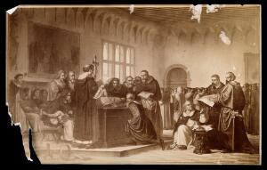 view Galileo Galilei: Galileo Galilei at his trial at the Inquisition in Rome in 1633. Process print after a painting.