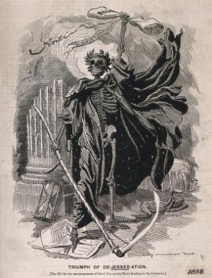 view Death as a skeletal figure wielding a scythe: representing fears concerning the Act of 1898 which made vaccination against smallpox compulsory. Wood engraving by Sir E.L. Sambourne, 1898.