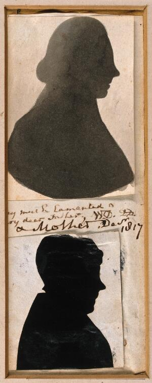 view William Davies and his wife, in profile. Silhouettes, ca. 1800(?).