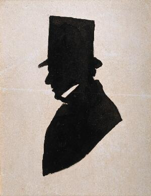 view A man in profile wearing a top hat, possibly a member of the Jenner family. Silhouette, 1810/1840(?).