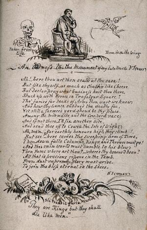 view W. Calder Marshall's statue of Edward Jenner in Trafalgar Square, with verses and vignettes on the theme of memento mori (a skull, an angel and a tombstone). Ink drawing by S. Jenner, 1830/1850.