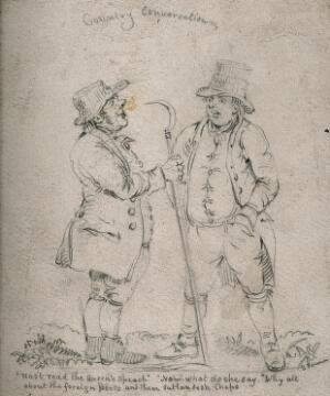 view Two Gloucestershire countrymen, one holding a scythe, conversing about foreign affairs. Pencil drawing by S. Jenner.