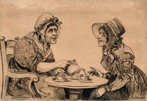 view Two gossiping women taking tea at a small round table. Ink drawing by S. Jenner, ca. 1850.
