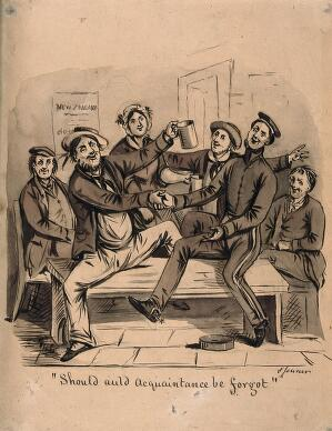 view A sailor being toasted by a group of his friends in a tavern as he is about to depart for New Zealand. Pencil, ink and wash, by S. Jenner.