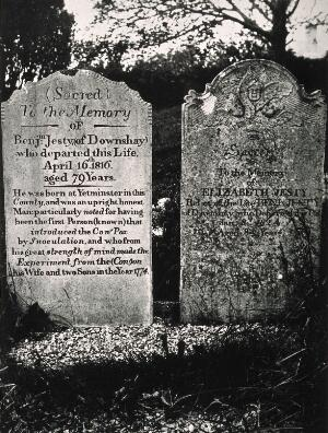 view Tombstones recording the deaths of Benjamin Jesty and his wife Elizabeth Jesty. Photograph by E.A. Underwood, 1956.