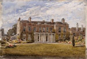 view Upton House, West Ham; birthplace of Joseph Lister. Watercolour partly after a photograph, partly after a sketch by Mary Lister, 1920/1940.