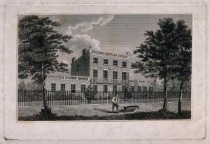 view John Coakley Lettsom's house and gardens, Grove Hill, Camberwell, Surrey: view from the road. Etching after G. Samuel, 18--.