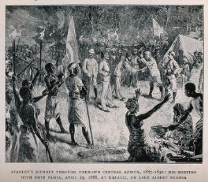 view Henry Morton Stanley's meeting with Emin Pasha in 1888 during his journey through central Africa. Lithograph.