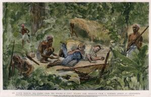 view T.H. Parke sucking the poison from William Stairs' wound, inflicted by a poisoned arrow at Abousheeba. Colour etching, ca. 1888.