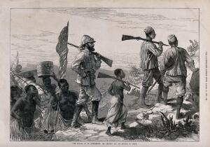 view The search for D. Livingstone in central Africa, led by H.M. Stanley. Wood engraving, 1872.
