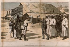 view The meeting between David Livingstone and Henry Morton Stanley in central Africa, 28 October 1872. Colour etching by S. Durand.