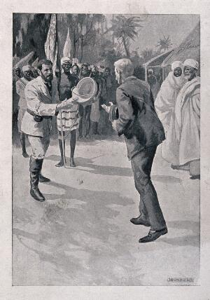 view The meeting of David Livingstone and Henry Morton Stanley, 28 October 1872, in central Africa. Lithograph after J. Durden.