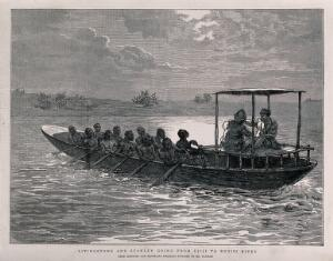 view David Livingstone and Henry Morton Stanley on the River Ruzizi. Etching.