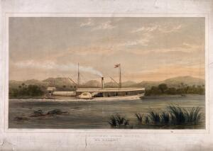 view Ma Robert, D. Livingstone's steam boat on which he explored the River Zambezi. Lithograph by T. Picken after S. Walters, 1858.