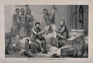 view Henry Morton Stanley and David Livingstone in central Africa, reading British newspapers. Process print after Pearson after J.B. Zwecker.