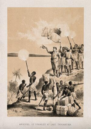 view Henry Morton Stanley and his servants arriving at Lake Tanganyika. Lithograph.