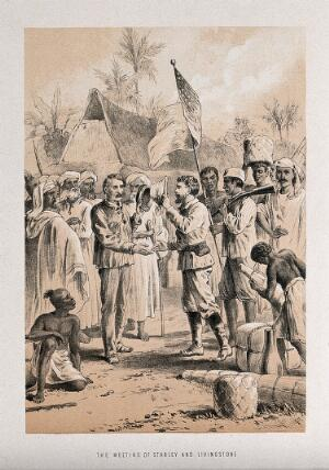 view Henry Morton Stanley meeting David Livingstone in central Africa. Lithograph.