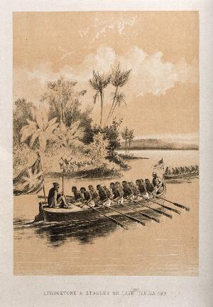 view Henry Morton Stanley and David Livingstone on Lake Tanganyika. Lithograph.